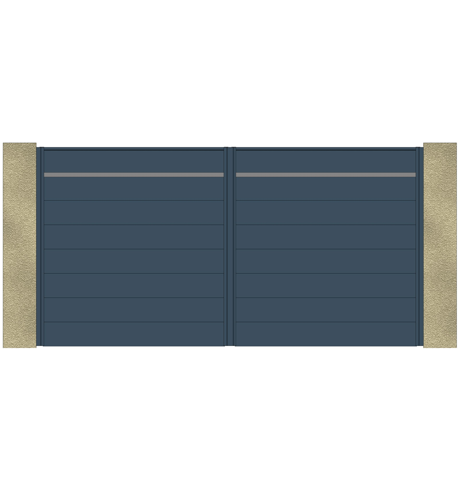 Portail aluminium battant lame large horizontale 220 urban leportailalu for Portail alu battant