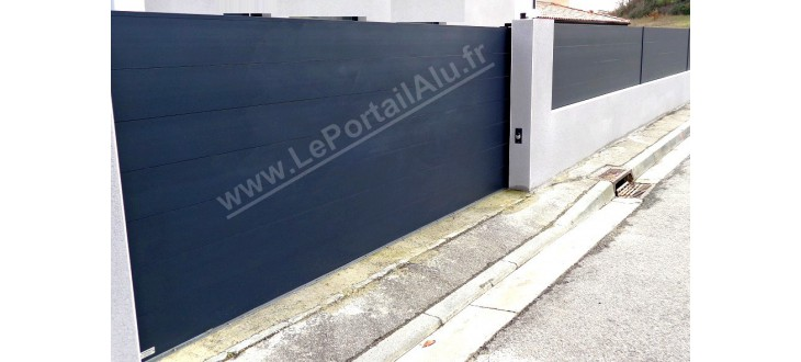 Portail Alu Coulissant 4m lame large 220 FLAT